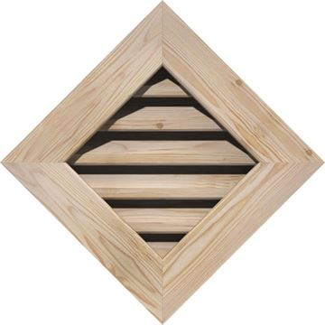 Restorers Architectural Diamond Pine Flat Trim Frame Gable Vent