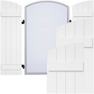 Restorers Architectural Elliptical Board-n-Batten PVC Shutters - Pair