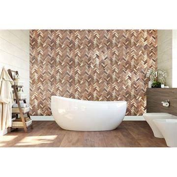 Restorers Architectural Herringbone Boat Wood Mosaic Wall Tile