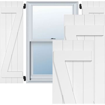 Restorers Architectural Joined Z-Bar Board-n-Batten PVC Shutter - Pair