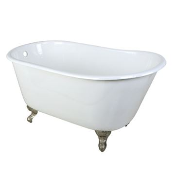 Aqua Eden 53 Inch Cast Iron Single Slipper Clawfoot Tub - No Holes