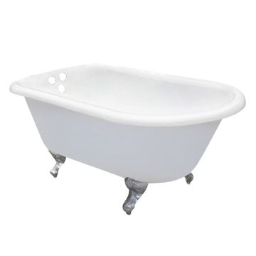 Aqua Eden 54 Inch Cast Iron Roll Top Clawfoot Bath Tub - 3 3/8 Inch