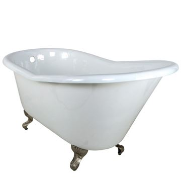 Aqua Eden 60 Inch Cast Iron Single Slipper Clawfoot Tub - No Holes