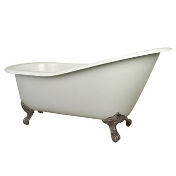 Aqua Eden 61 Inch Cast Iron Single Slipper Clawfoot Bath Tub - 7 Inch