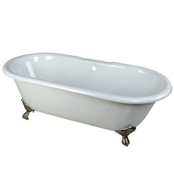 Aqua Eden 66 Inch Cast Iron Double End Clawfoot Bath Tub - 7 Inch