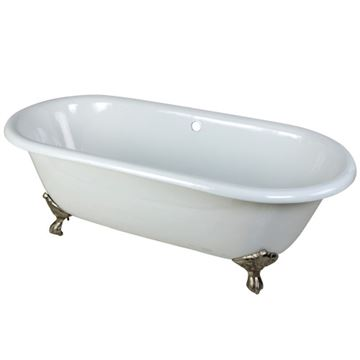 Aqua Eden 66 Inch Cast Iron Double End Clawfoot Bath Tub - No Holes