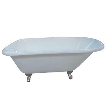 Aqua Eden 66 Inch Cast Iron Roll Top Clawfoot Bath Tub - 3 3/8 Inch