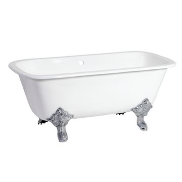 Aqua Eden 67 Inch Cast Iron Double End Clawfoot Tub - No Holes