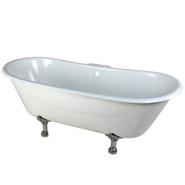 Aqua Eden 67 Inch Cast Iron Double Slipper Clawfoot Bath Tub - 7 Inch