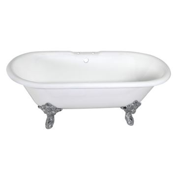 Aqua Eden 72 Inch Cast Iron Double End Clawfoot Bath Tub - 7 Inch