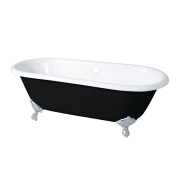 Aqua Eden Black Cast Iron Double End 66 Inch Clawfoot Tub - No Holes