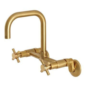 Restorers Concord 8 Inch Adjustable Wall Mount Kitchen Faucet - Cross