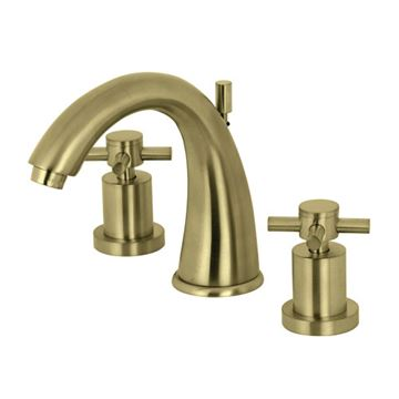 Restorers Concord 8 Inch Widespread Bathroom Faucet - Metal Cross