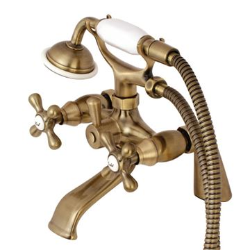 Restorers Deck Mount 6 Inch Center Clawfoot Tub Faucet - Metal Cross