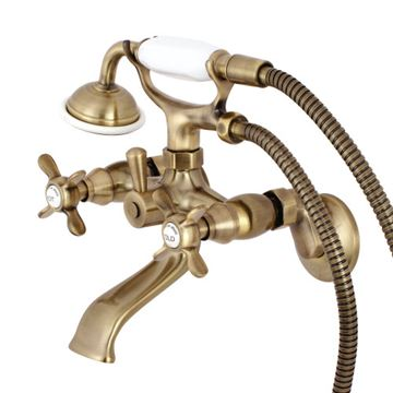 Restorers Essex Wall Mount 6 Inch Center Tub Faucet - Metal Cross