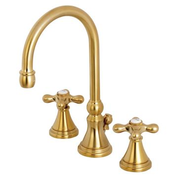 Restorers Governor 8 Inch Widespread Bathroom Faucet - Metal Cross