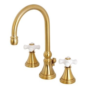 Restorers Governor 8 Inch Widespread Bathroom Faucet - Porcelain Cross
