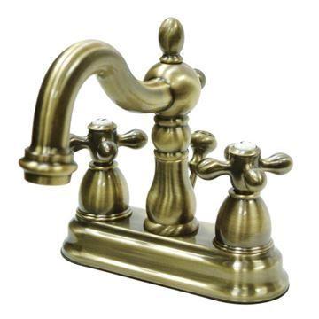 Restorers Heritage 4 Inch Centerset Bathroom Faucet - Metal Cross