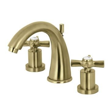Restorers Millenium 8 Inch Widespread Bathroom Faucet - Metal Cross