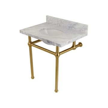 Restorers Templeton Marble Console Sink - Brushed Brass Legs - Oval