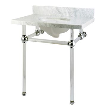 Restorers Templeton Marble Console Sink - Clear & Chrome - Oval
