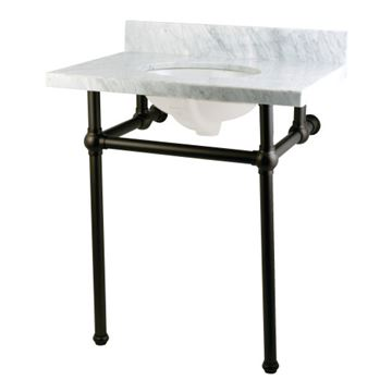 Restorers Templeton Marble Console Sink - Matte Black Legs - Oval