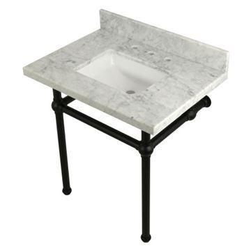 Restorers Templeton Marble Console Sink - Matte Black Legs - Square