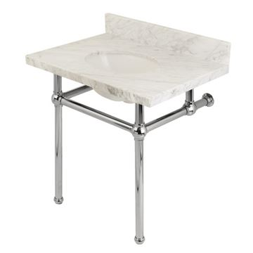 Restorers Templeton Marble Console Sink - Polished Chrome Legs - Oval