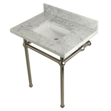 Restorers Templeton Marble Console Sink - Nickel Legs - Square