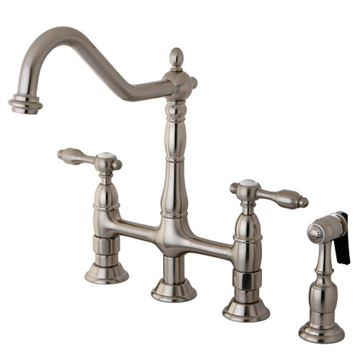 Restorers Tudor Bridge Kitchen Faucet & Sprayer - Metal Lever