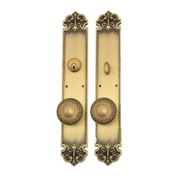 Brass Accents Fleur De Lis Laurel Knob Single Cylinder Entry Door Set