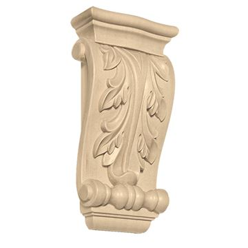 Designs of Distinction Hand Carved 6 Inch Elongated Acanthus Corbel