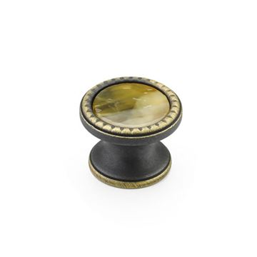 Schaub Kingsway Ancient Bronze Chaparral Glass Round Cabinet Knob