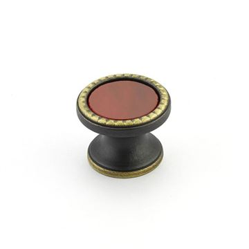 Schaub Kingsway Ancient Bronze Scarlet Glass Round Cabinet Knob