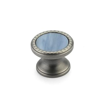 Schaub Kingsway Antique Nickel Glacier Blue Glass Round Cabinet Knob