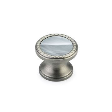 Schaub Kingsway Antique Nickel Greystone Glass Round Cabinet Knob