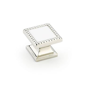 Schaub Kingsway Polished Nickel White Glass Square Cabinet Knob