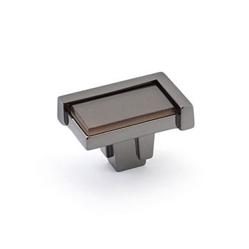 Schaub Tallmadge Black Nickel Light Bronze Glass Rectangle Knob