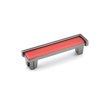 Schaub Tallmadge Black Nickel Rouge Glass 4 Inch Cabinet Pull