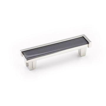 Schaub Tallmadge Polished Nickel Silver Grey Glass 4 Inch Cabinet Pull