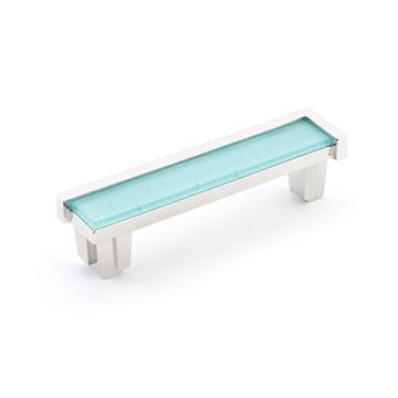 Schaub Tallmadge Polished Nickel Turquoise Glass 4 Inch Cabinet Pull
