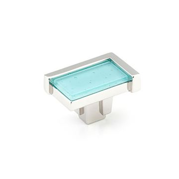 Schaub Tallmadge Polished Nickel Turquoise Glass Rectangle Cabinet Knob