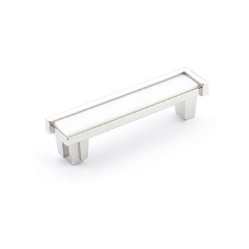 Schaub Tallmadge Polished Nickel White Glass 4 Inch Cabinet Pull