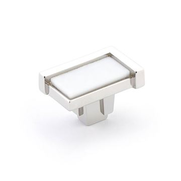 Schaub Tallmadge Polished Nickel White Glass Rectangle Cabinet Knob
