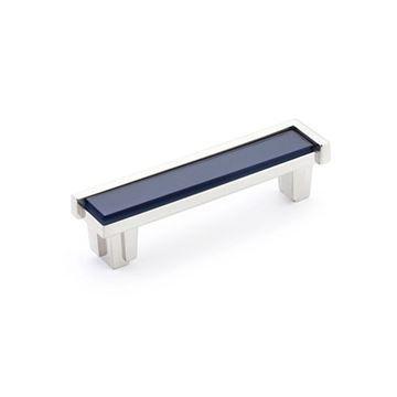 Schaub Tallmadge Satin Nickel Steel Blue Glass 4 Inch Cabinet Pull