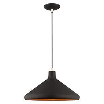 Livex Lighting 15 1/4 Inch Cone Metal Shade Mini Pendant