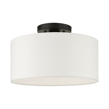Livex Lighting Meridian 13 Inch Black Semi Flush Light