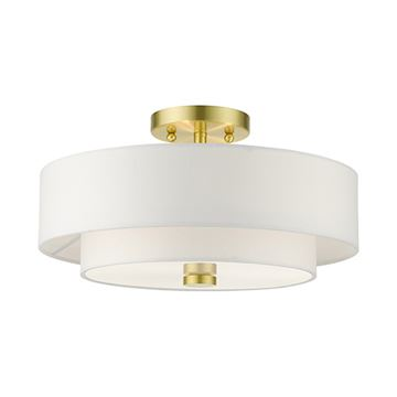 Livex Lighting Meridian 15 Inch Double Shade Semi Flush Light