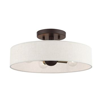 Livex Lighting Venlo 14 Inch Oatmeal Semi Flush Light