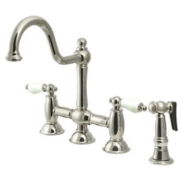 Restorers Restoration KS379XPLBS-P Bridge Kitchen Faucet